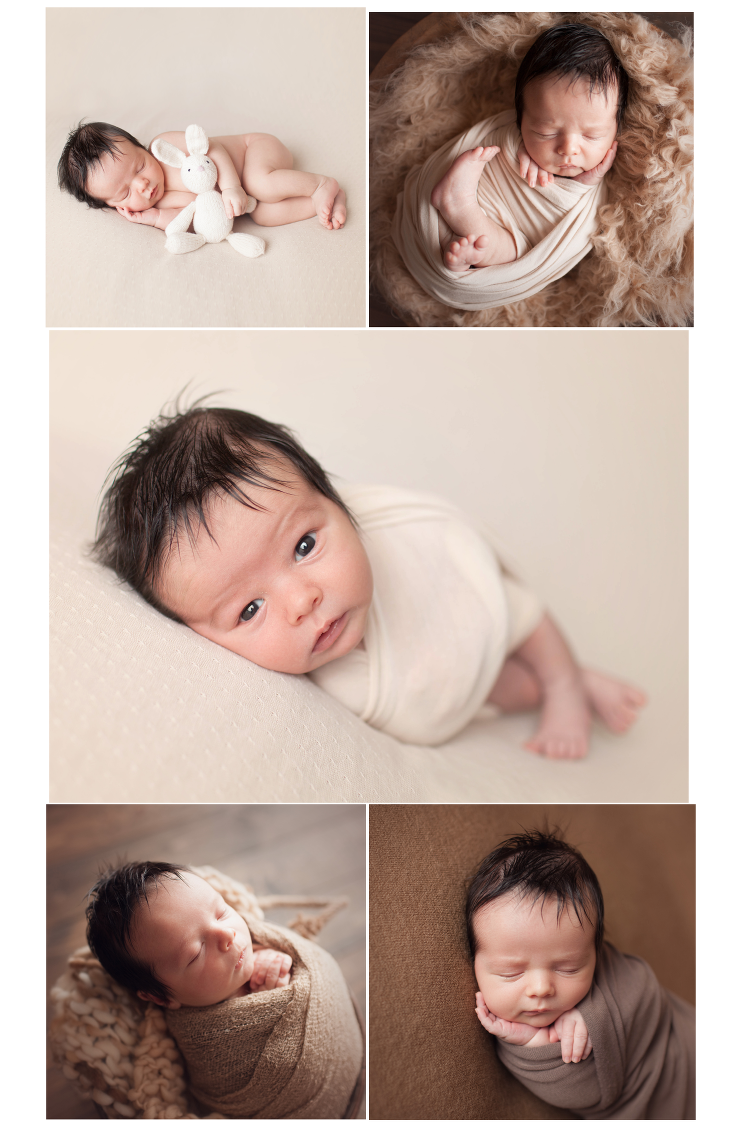 Cleveland newborn photographer photographs baby boy in brown wrap and potato sack pose in bucket and props