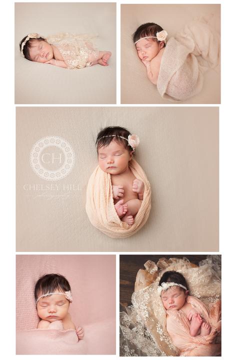 medina, ohio newborn photographer featuring posed baby girl in cream wrap