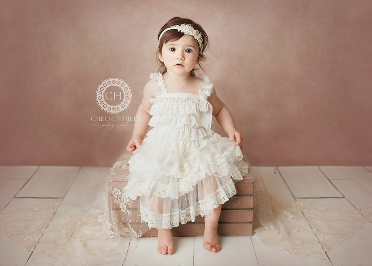 toddler girl portrait in lace dress