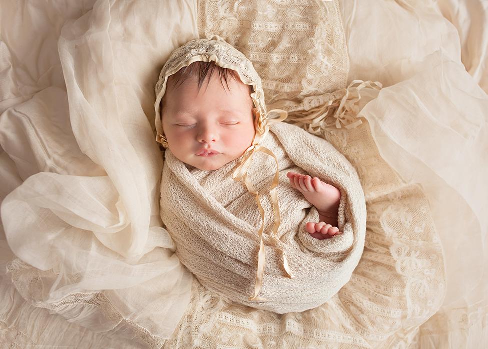 newborn boy posing christening heirloom