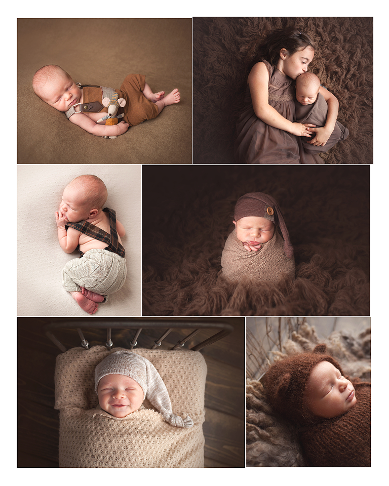 Newborn studio session using neutral colors bear hat potato sack pose with sibling portrait