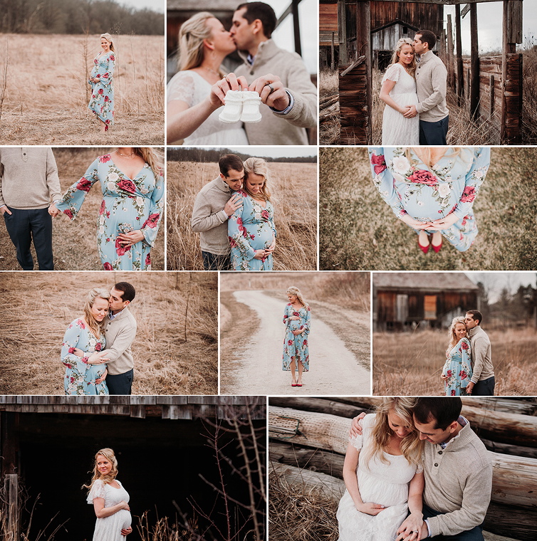 Top Cleveland photographer maternity session in Cleveland field with rustic barn and floral maternity dress