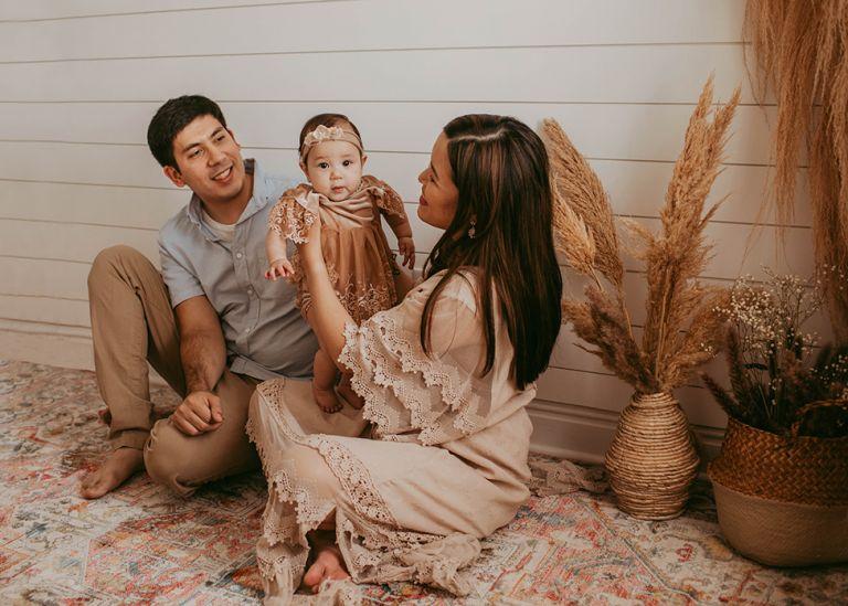 lifestyle boho family studio portrait session